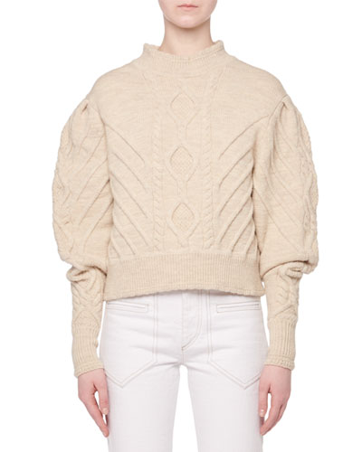 Turtleneck Irish-Knit Volume-Sleeve Wool Sweater