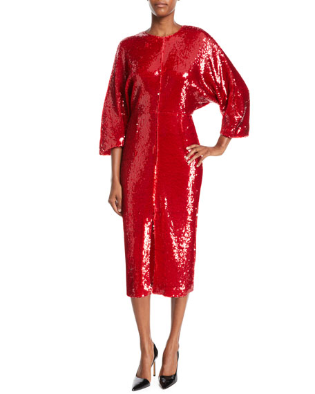 SALLY LAPOINTE JEWEL-NECK DOLMAN-SLEEVE SHIFT SEQUIN COCKTAIL DRESS