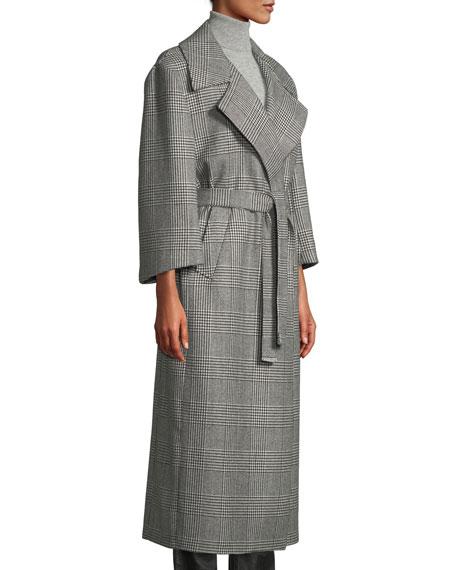 The Linda Houndstooth Check Robe Coat