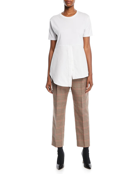 Mini-Plaid Straight-Leg Wool-Blend Pants