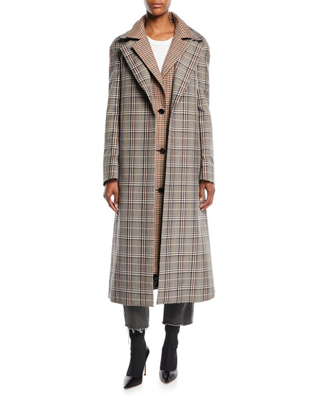 Monse Plaid Combo Double-Collar Single-Breasted Long Wool-Blend
