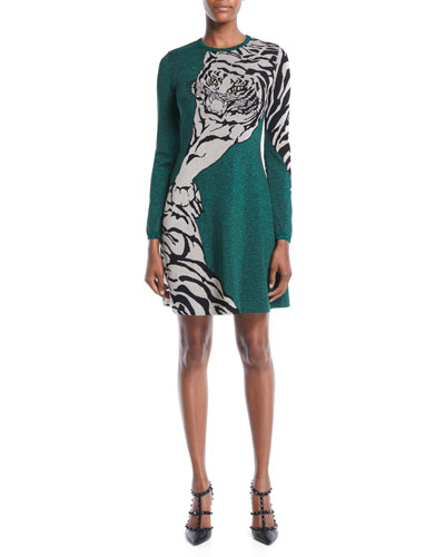 Long-Sleeve Tiger-Print Metallic Knit A-Line Dress