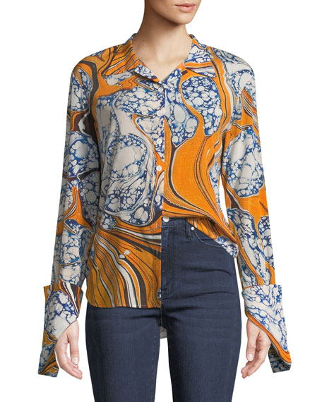 Button-Front Long-Sleeve Marble-Print Silk-Stretch Blouse