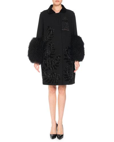 Wool-Blend Embellished Coat w/ Fur Cuffs
