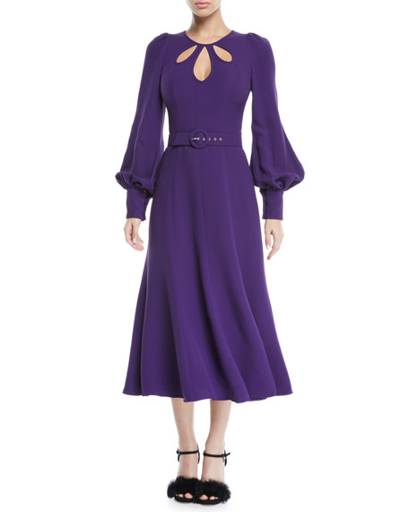 ANDREW GN KEYHOLE-NECK LONG-SLEEVE BELTED CREPE A-LINE MIDI DRESS