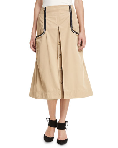 A-Line Godet Twill Skirt w/ Two Way Zips