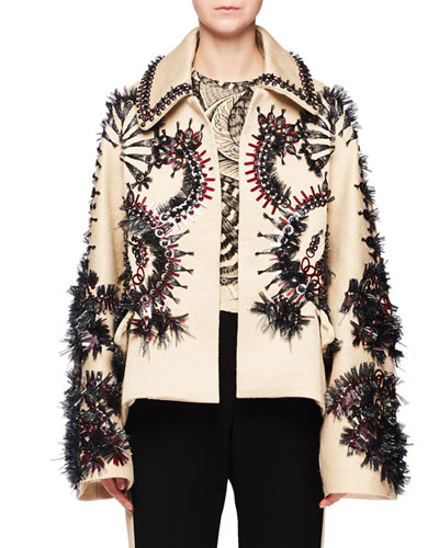 Raffia Embroidered Wool-Blend Jacket