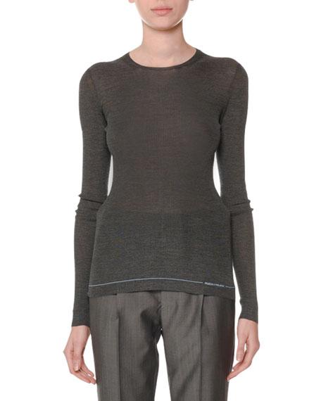Crewneck Long-Sleeve Silk Sweater