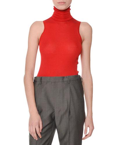 Turtleneck Sleeveless Silk Sweater