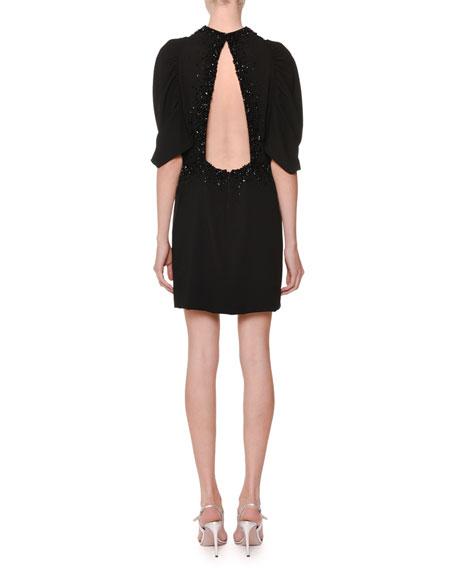 Pouf-Sleeve Open-Back Embellished Cocktail Dress