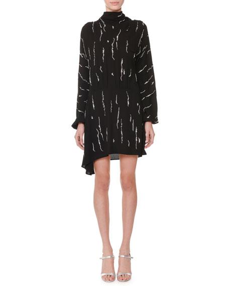 High-Neck Long-Sleeve Embellished Cocktail Dress