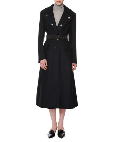 Button-Down Lapels Single-Breasted Mid-Length Wool Top Coat