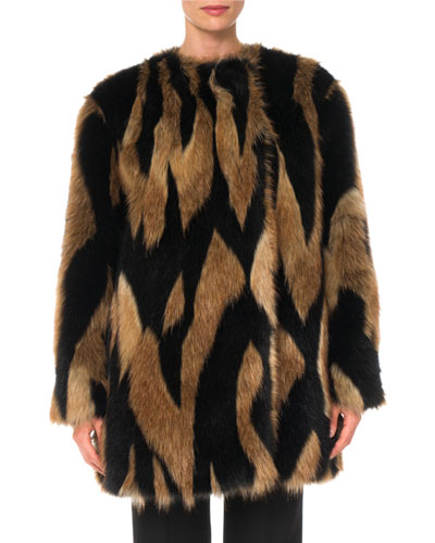 Intarsia Faux-Fur Quilted-Lining  Mid-Thigh Coat