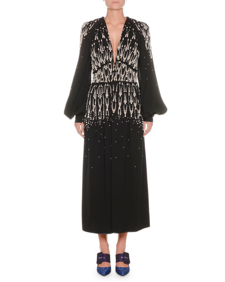 Plunging Blouson-Sleeve Embellished A-Line Evening Gown
