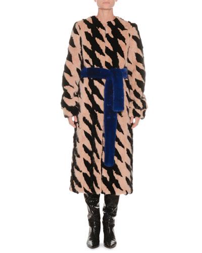 Belted Mink Fur Intarsia Long Coat