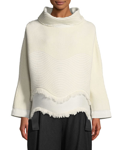 Turtleneck Wavy-Knit Pullover Sweater