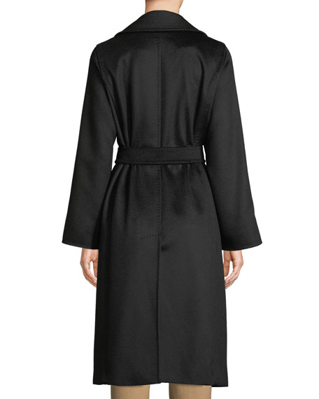 Manuel Belted Camel Hair Coat, Black