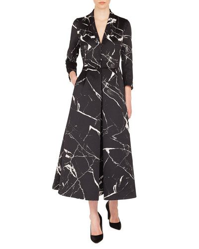 Long-Sleeve Marble Tiles Jacquard Fit-and-Flare Coat Gown