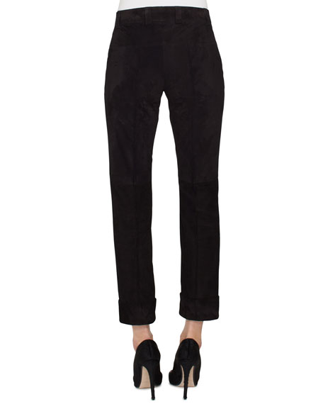Nappa Suede Patchwork Leather Conical-Leg Pants