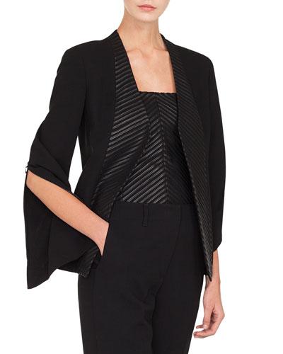 Selma No-Closure Chevron Leather-Front Jacket