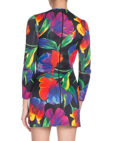 eab76c28 Balenciaga Watercolor Floral Jersey Mini Dress