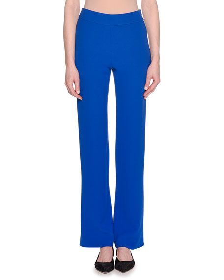 Double-Face Boot-Cut Silk Crepe Pants