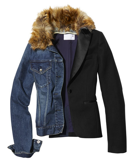 Denim & Blazer Combo Jacket w/ Faux-Fur Collar