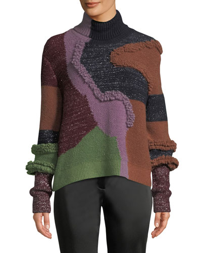 Turtleneck Patchwork Knit Pullover Sweater w/ Metallic