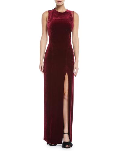 Jewel-Neck Sleeveless Column Velvet Evening Gown w/ Cutout