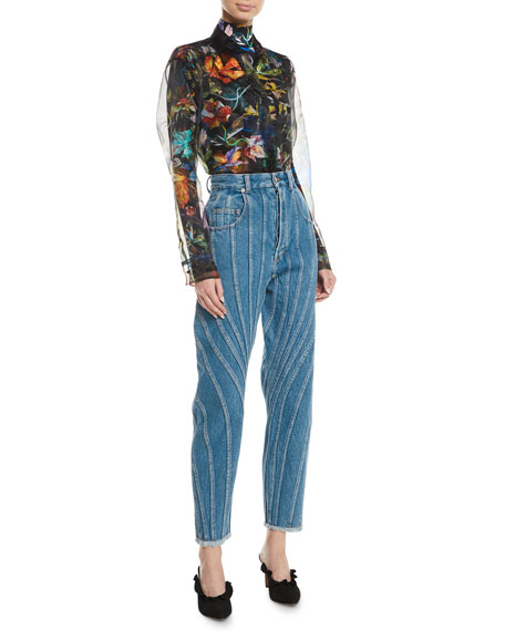 High-Waist Seamed Straight-Leg Jeans w/ Fringe Hem