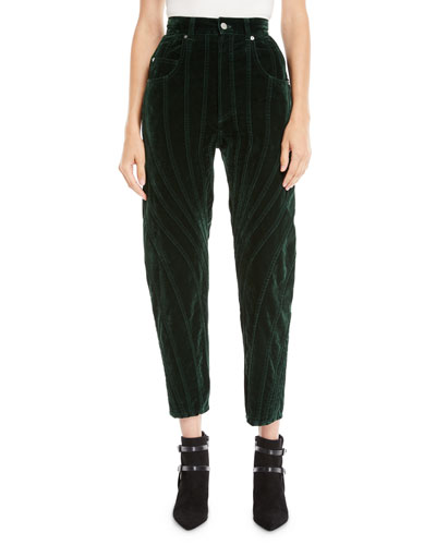 High-Waist Seamed Velvet Straight-Leg Cropped Pants