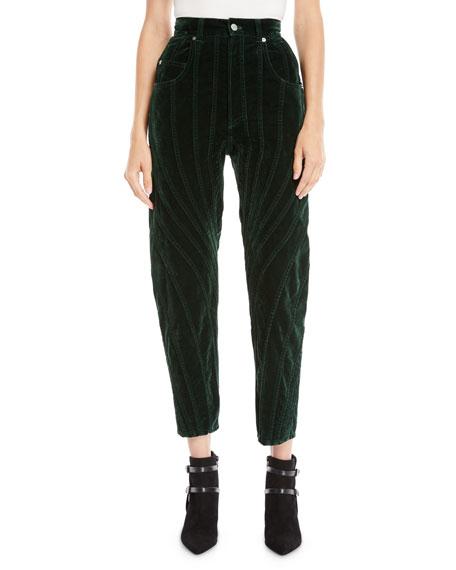 High-Waist Seamed Velvet Straight-Leg Cropped Pants
