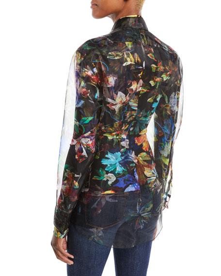 Long-Sleeve Button-Down 3-D Floral-Print Organza Top