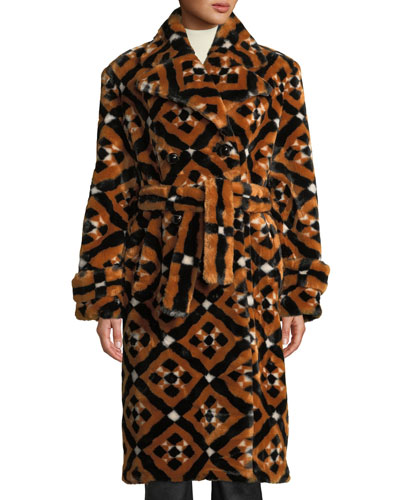 Stokes Double-Breasted Tie-Waist Tile-Print Faux-Fur Midi Coat