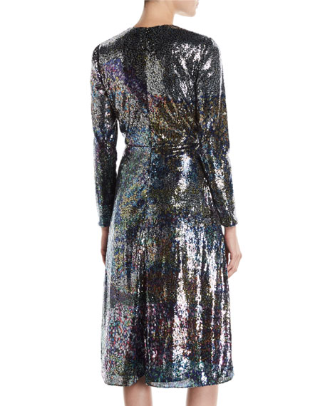 Long-Sleeve Multicolor-Sequin Cocktail Dress