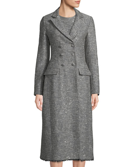 Lela Rose Double-Breasted Seamed Tweed Coat w/ Fringe