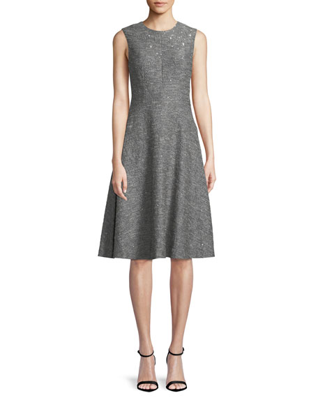 Sequin Sleeveless Seamed Fit-and-Flare Dress
