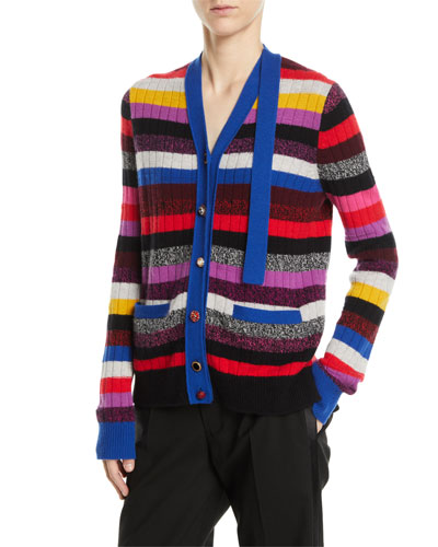 V-Neck Multicolor Stripe Cashmere Cardigan