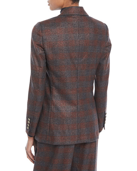 Double-Breasted Metallic Plaid Blazer Jacket w/ Brass Buttons