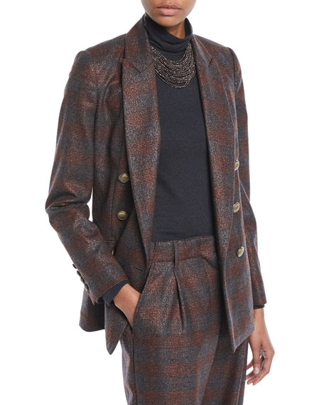 Brunello Cucinelli Double-Breasted Metallic Plaid Blazer Jacket