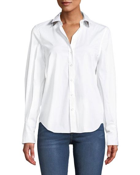 Long-Sleeve Button-Front Cotton Shirt w/ Monili Trim