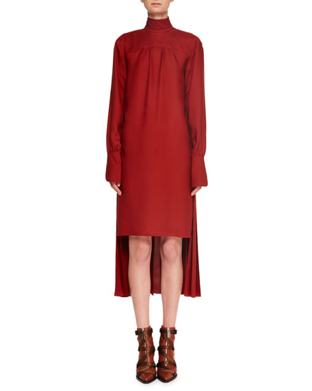 Turtleneck Long-Sleeve Pleated-Back Silk Crepe Dress in Red