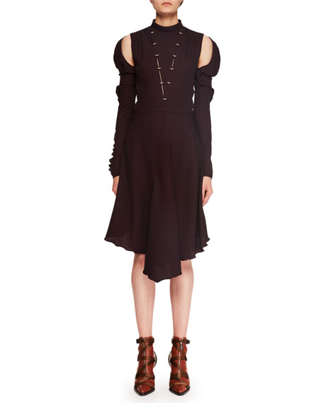 Chloe Mock-Neck Cutout-Shoulder Silk Crepe Dress