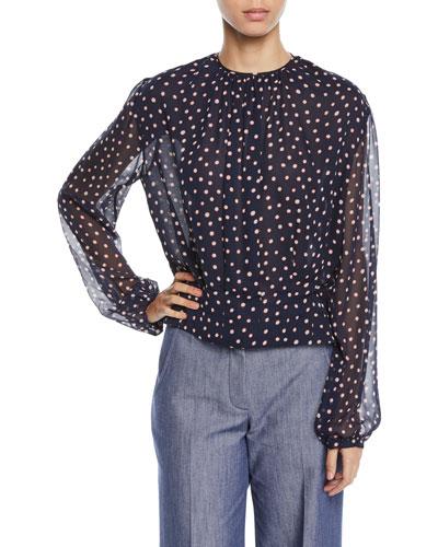 Long-Sleeve Dot-Print Gathered Jewel-Neck Silk Georgette Blouse