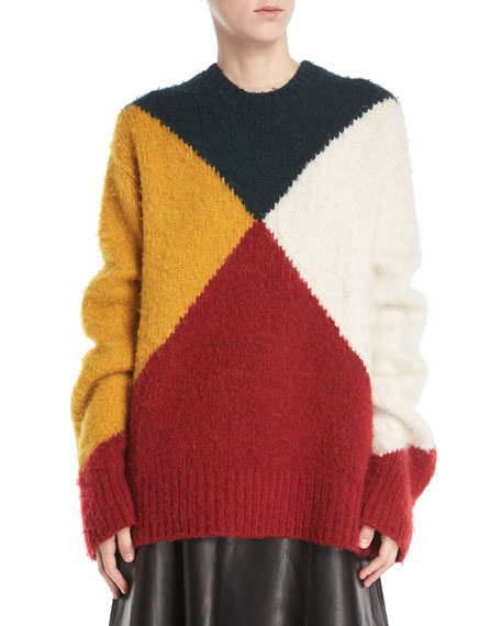 6cbdecd30 Derek Lam Crewneck Long-Sleeve Colorblock Brushed Alpaca Sweater