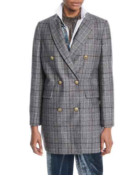 Double-Breasted Quilted Plaid Wool Coat w/ Gold-Coated Buttons