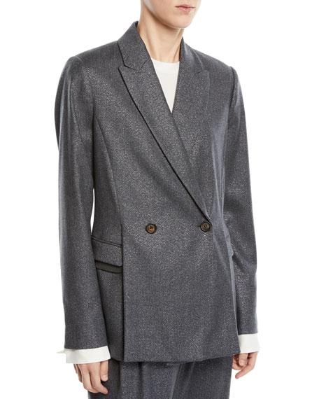 Brunello Cucinelli Faux Double-Breasted Metallic Wool Blazer