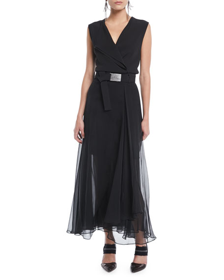 Sleeveless Belted Silk Wrap Cocktail Dress W/ Chiffon Bottom, Black