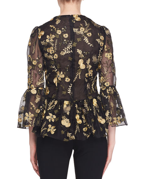Demetria Bell-Sleeve Floral-Embroidered Silk Organza Blouse