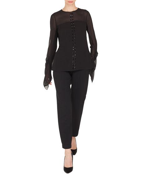 Long-Sleeve Jewel-Neck Silk Georgette Blouse w/ Stone Embellishments